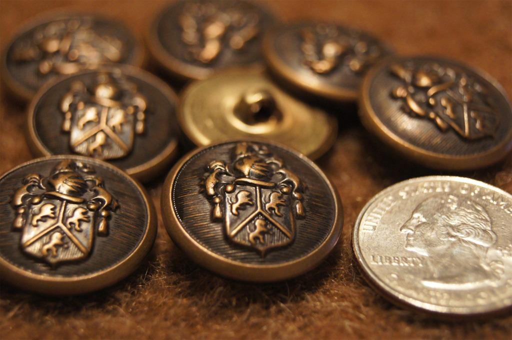 Vintage Embossed Metal Blazer Buttons