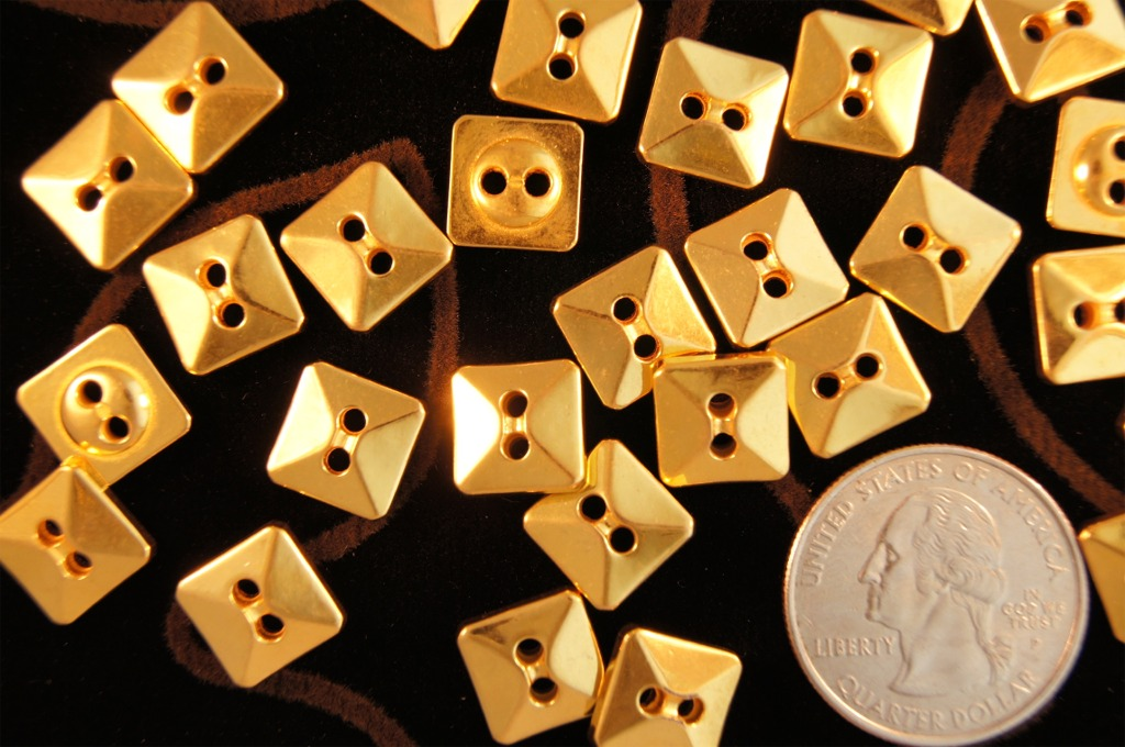 2 Hole Square Gold Buttons