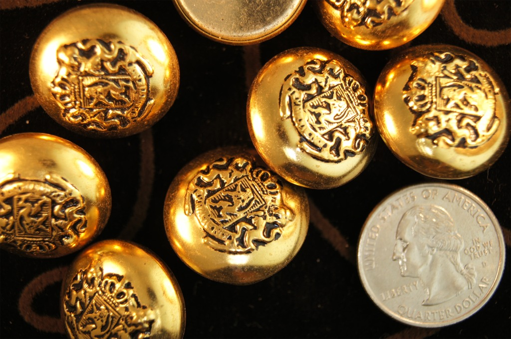 Gold Embossed Metal Blazer Buttons