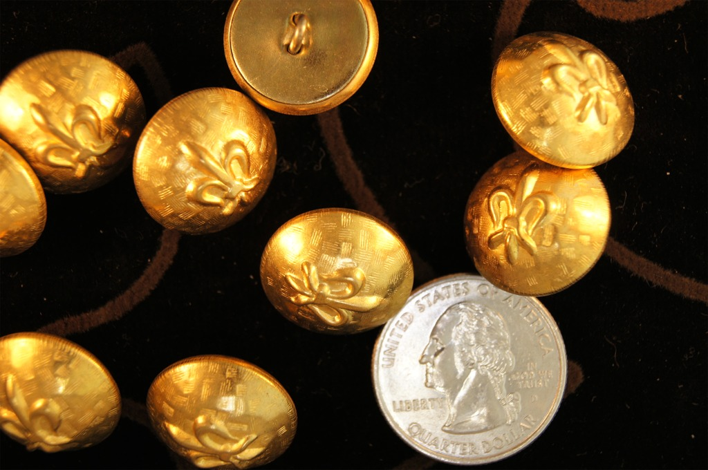 Embossed Metal Shank Gold Buttons