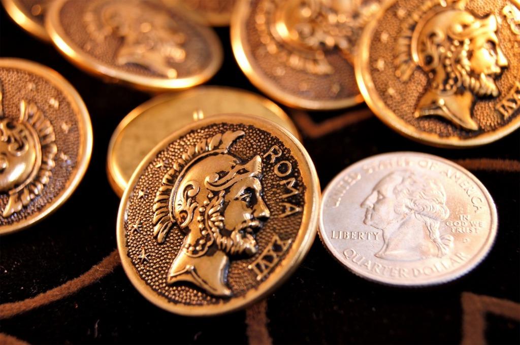 Embossed Vintage Gold Metal Shank Buttons
