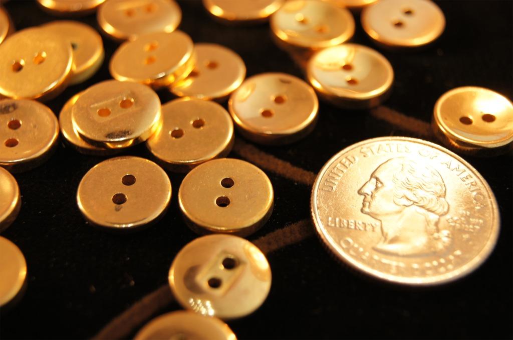 2 Hole Metallic Gold Shirt Buttons
