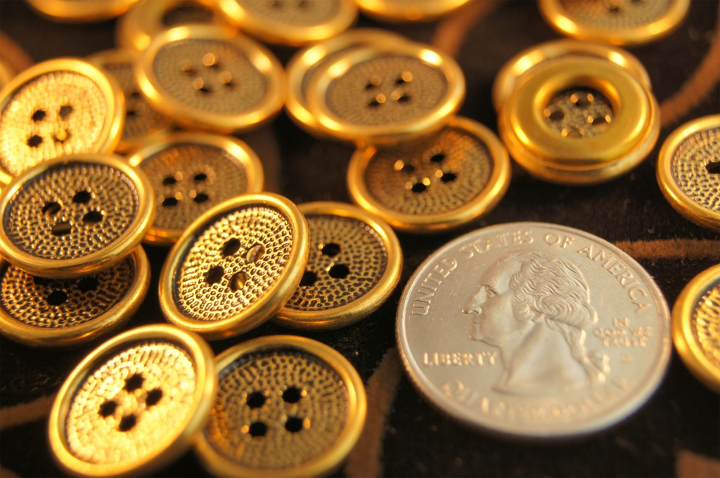 4 Hole Vintage Gold Metal Buttons