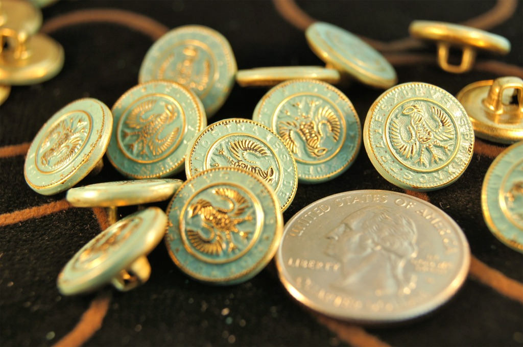 Vintage Teal Embossed Gold Metal Shank Buttons