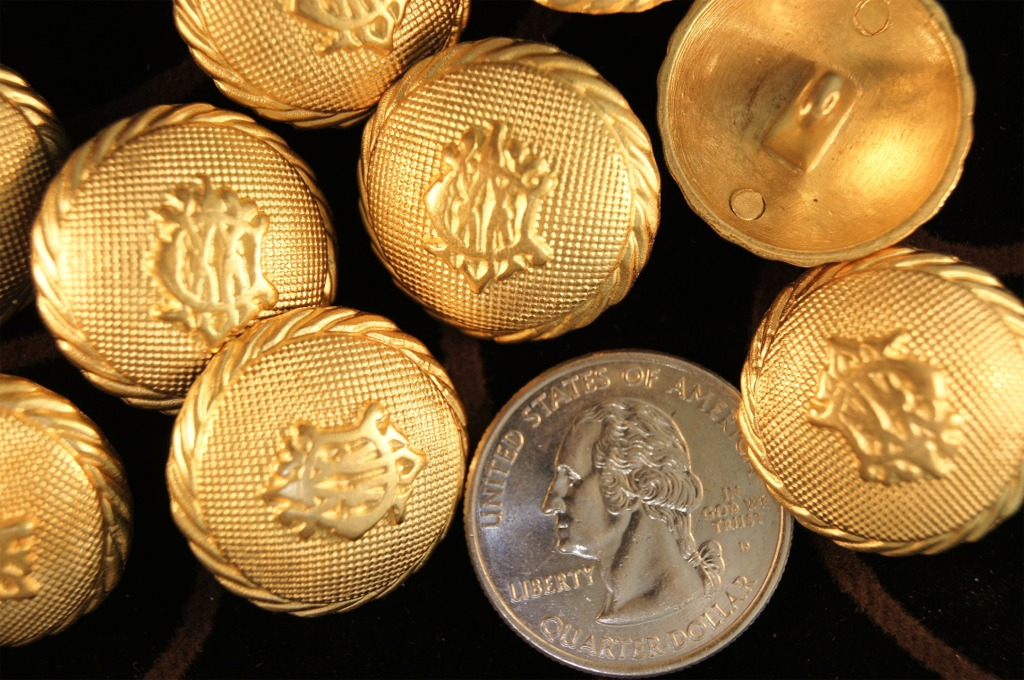 Embossed Gold Metal Blazer Shank Buttons