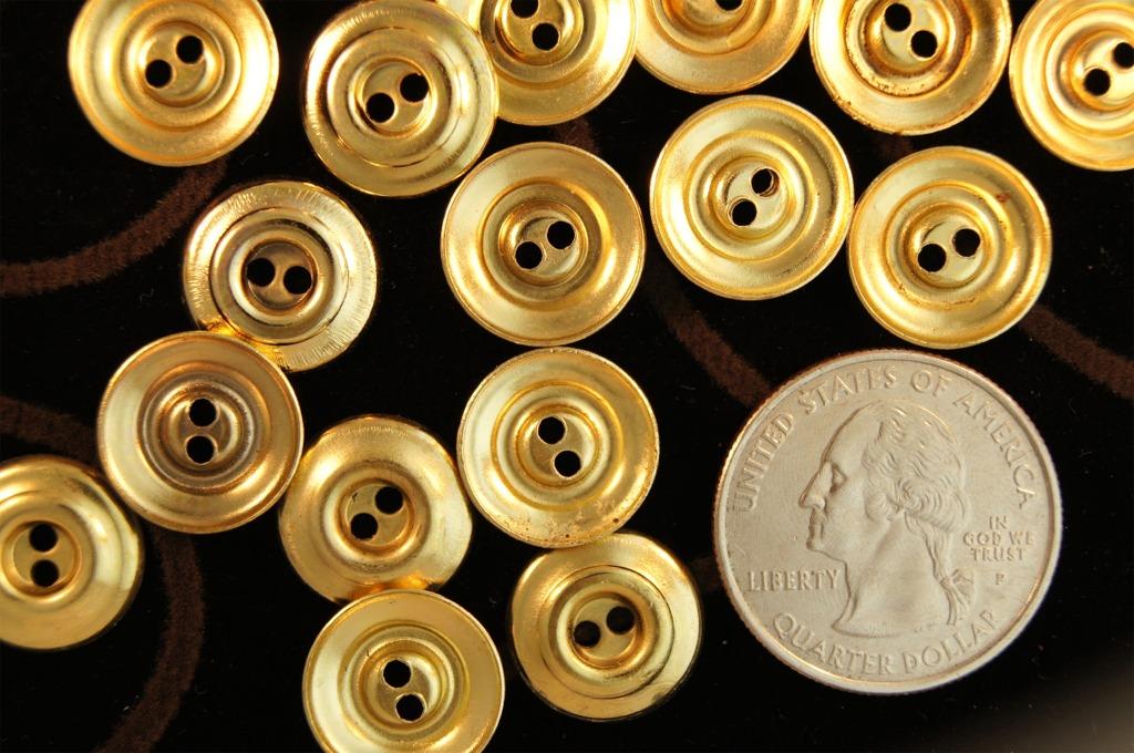 2 Hole Gold Metal Shirt Buttons
