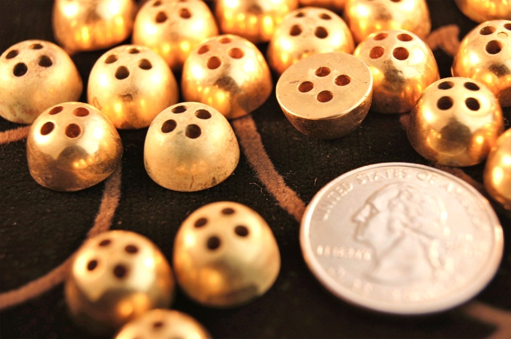 Vintage Gold Metal Dome 4 hole Buttons