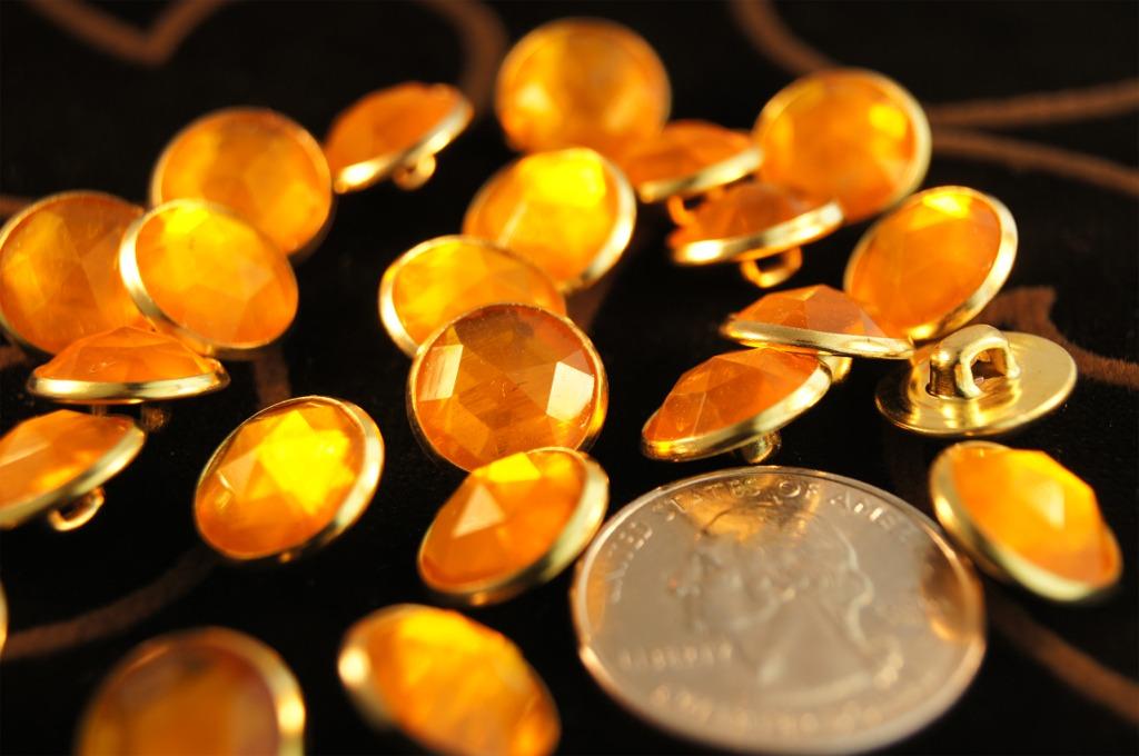 Orange Gem Gold Buttons