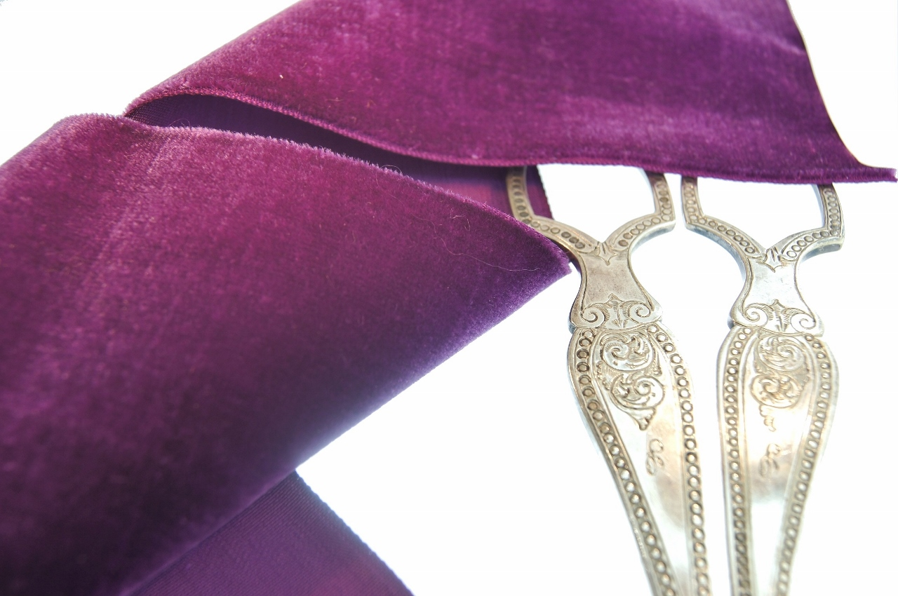 French Wide Velvet Ribbon Grape