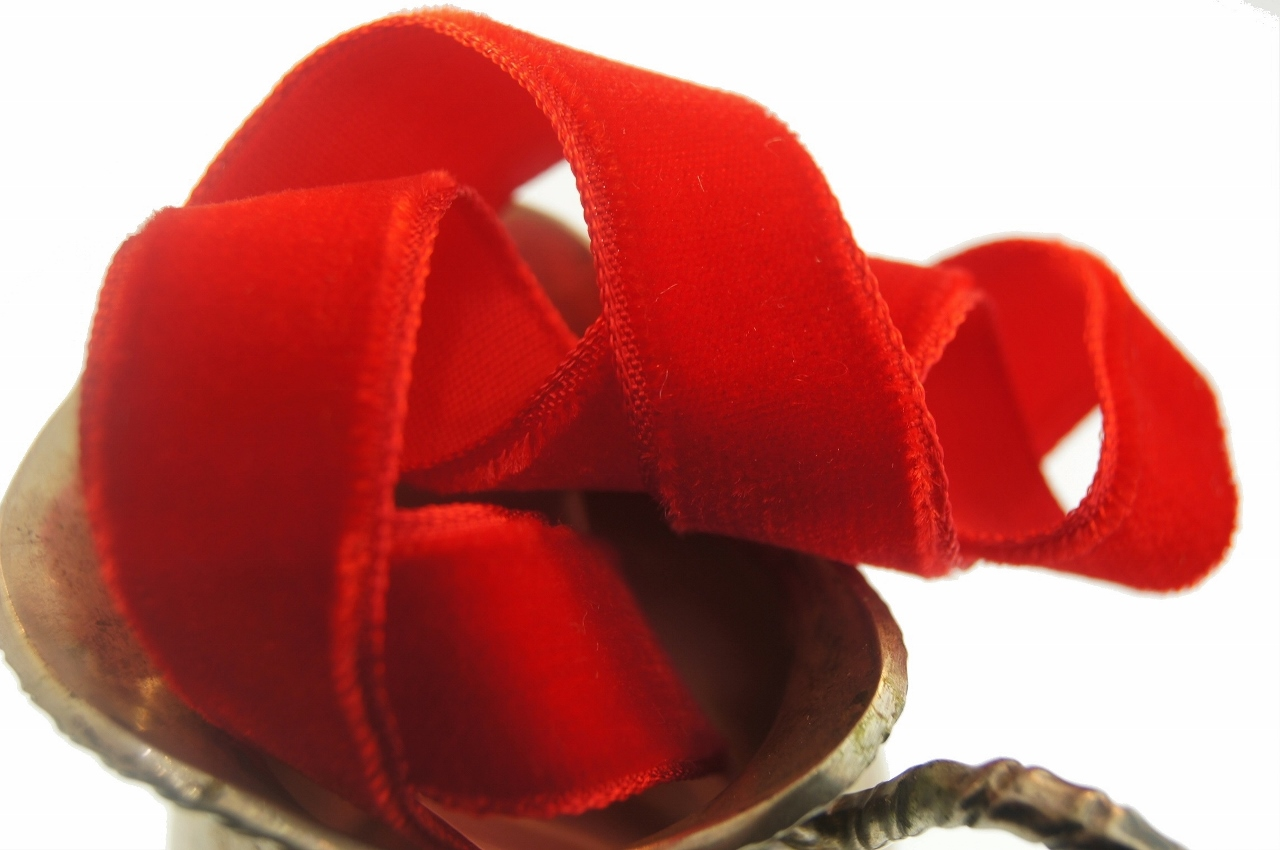 Classic Red French Velvet Ribbon by the Yard