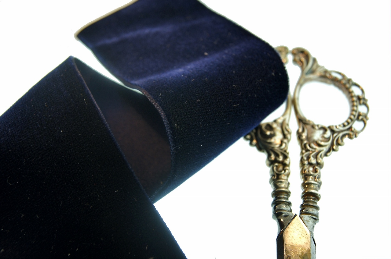 Satin Back Navy French Velvet Ribbon