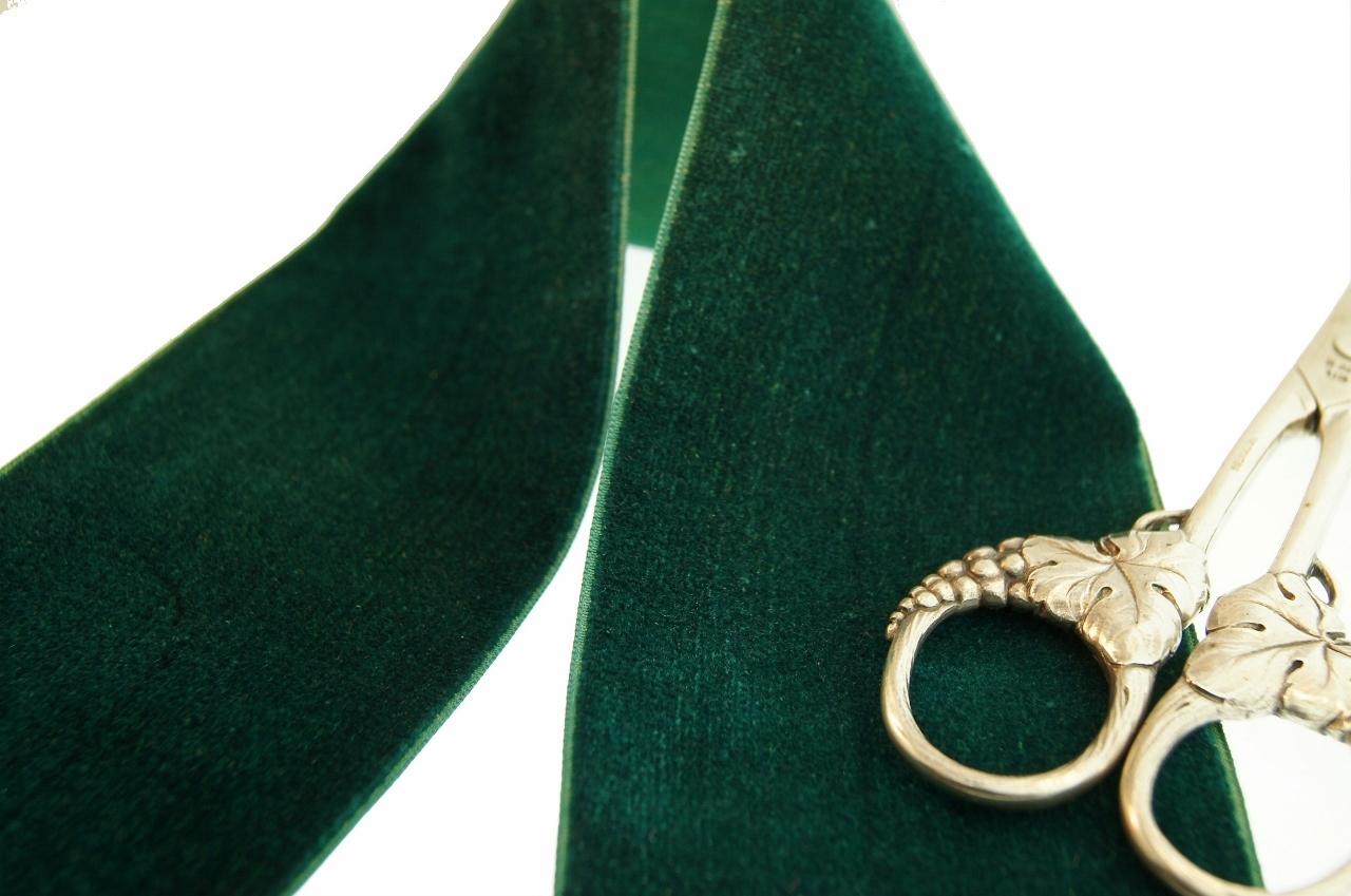 Hunter Green French Velvet Fabric Ribbon