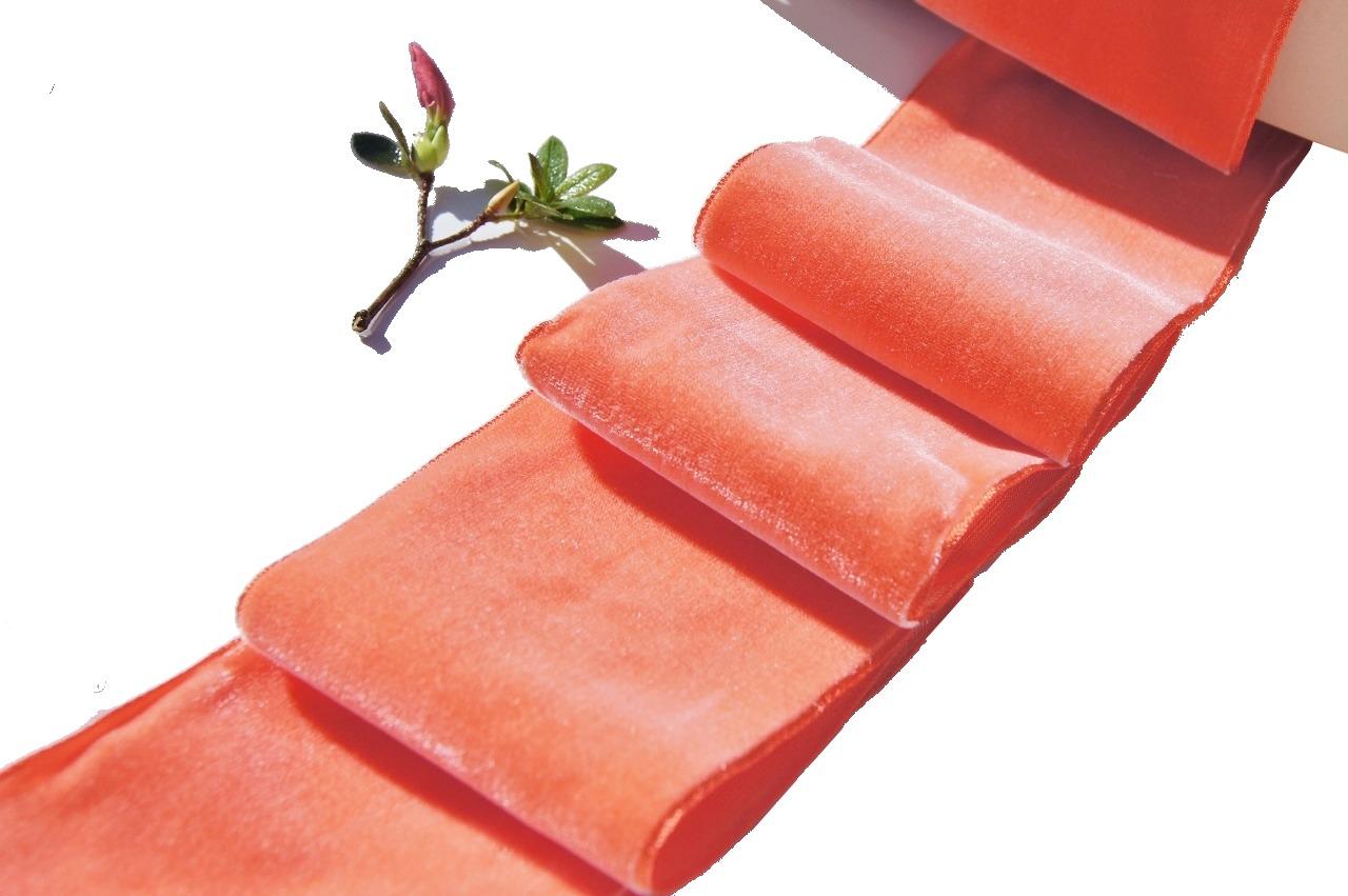 Wide French Velvet Fabric Ribbon Orange