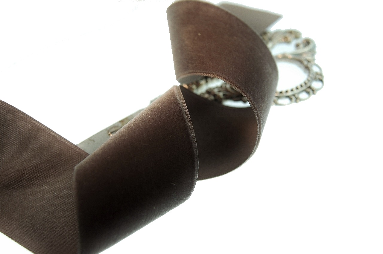 Swiss Taupe Brown Velvet Ribbon