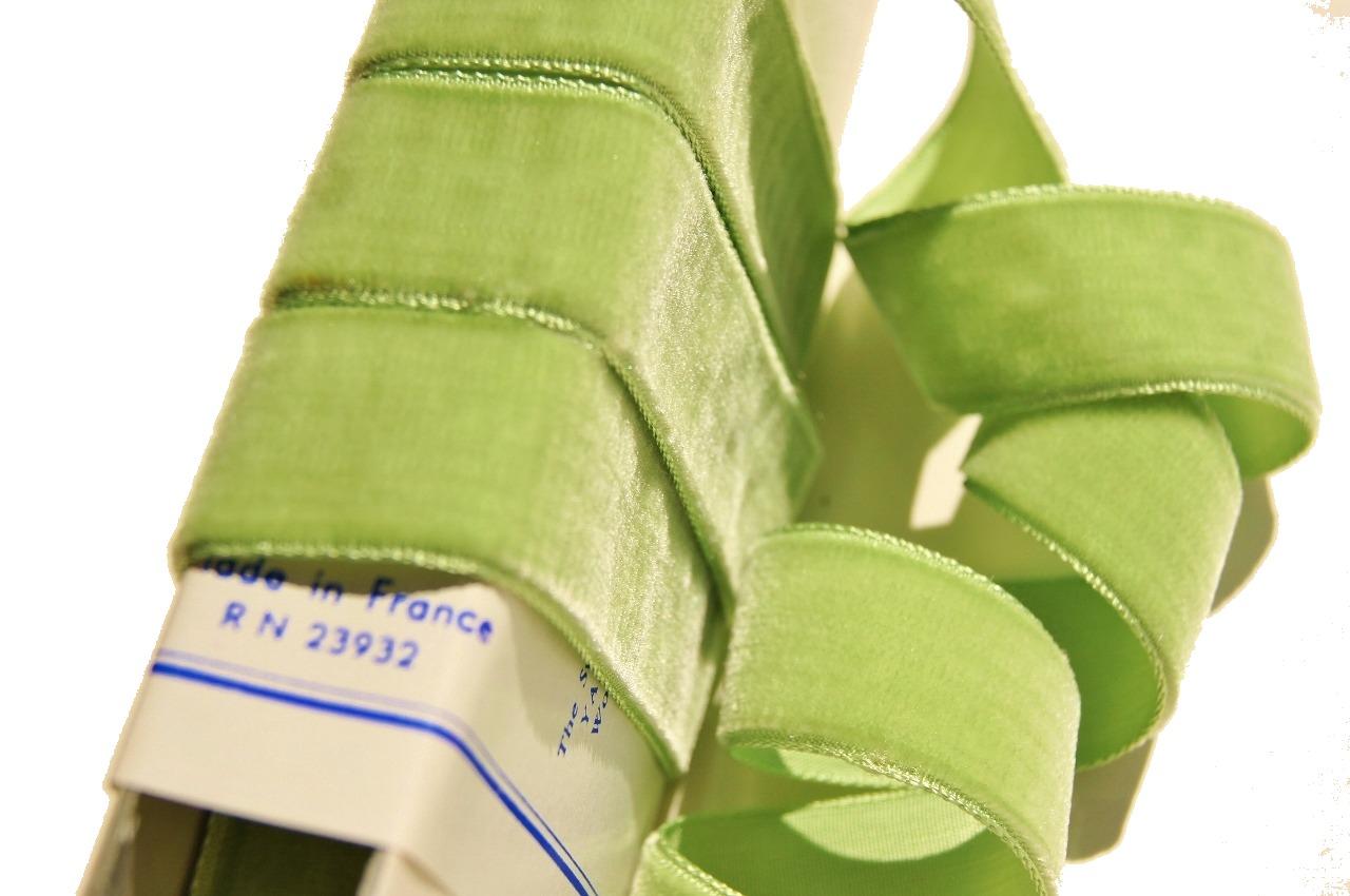 Old Lime French Velvet Ribbon Trim