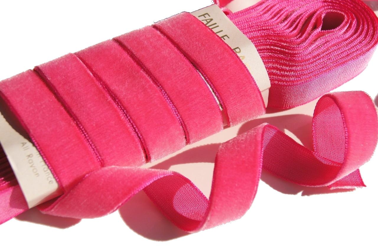 French Ribbon Ruby Pink Velvet Trim