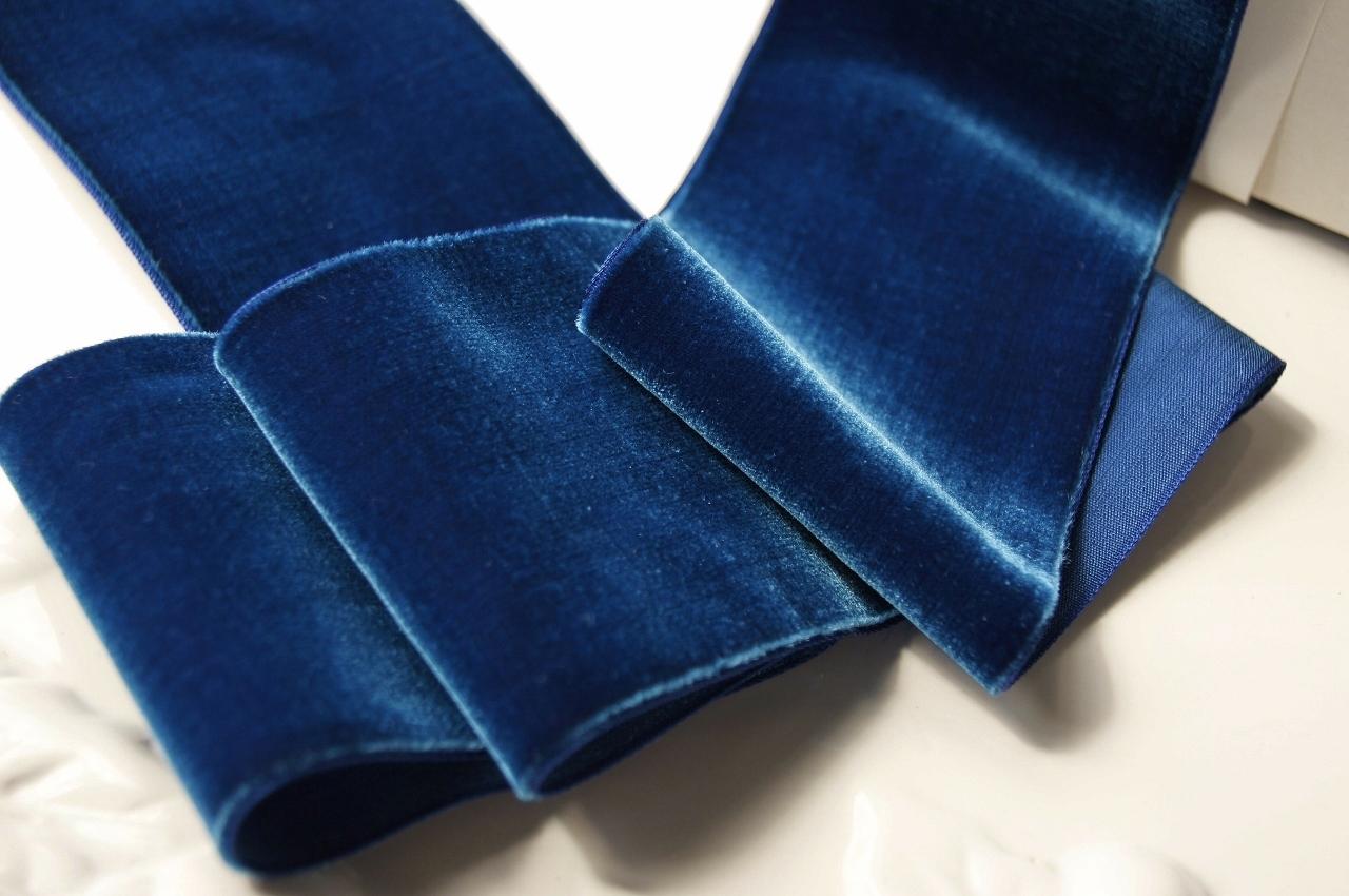 French Royal Blue Wide Velvet Ribbon