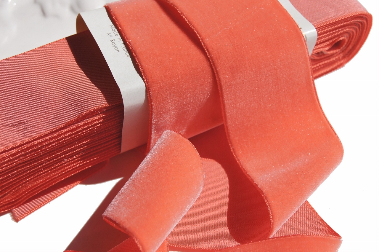 Melon French Velvet Fabric Ribbon Trim