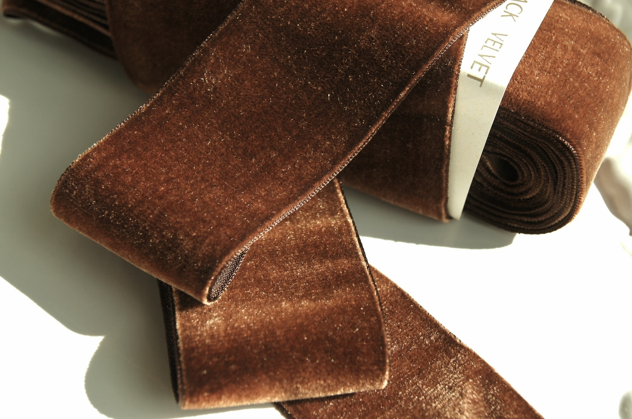 French Velvet Ribbon Antique Brown