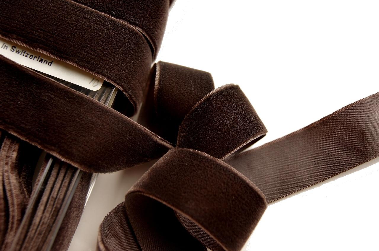 Autumn Brown Swiss Velvet Dress Ribbon Trim