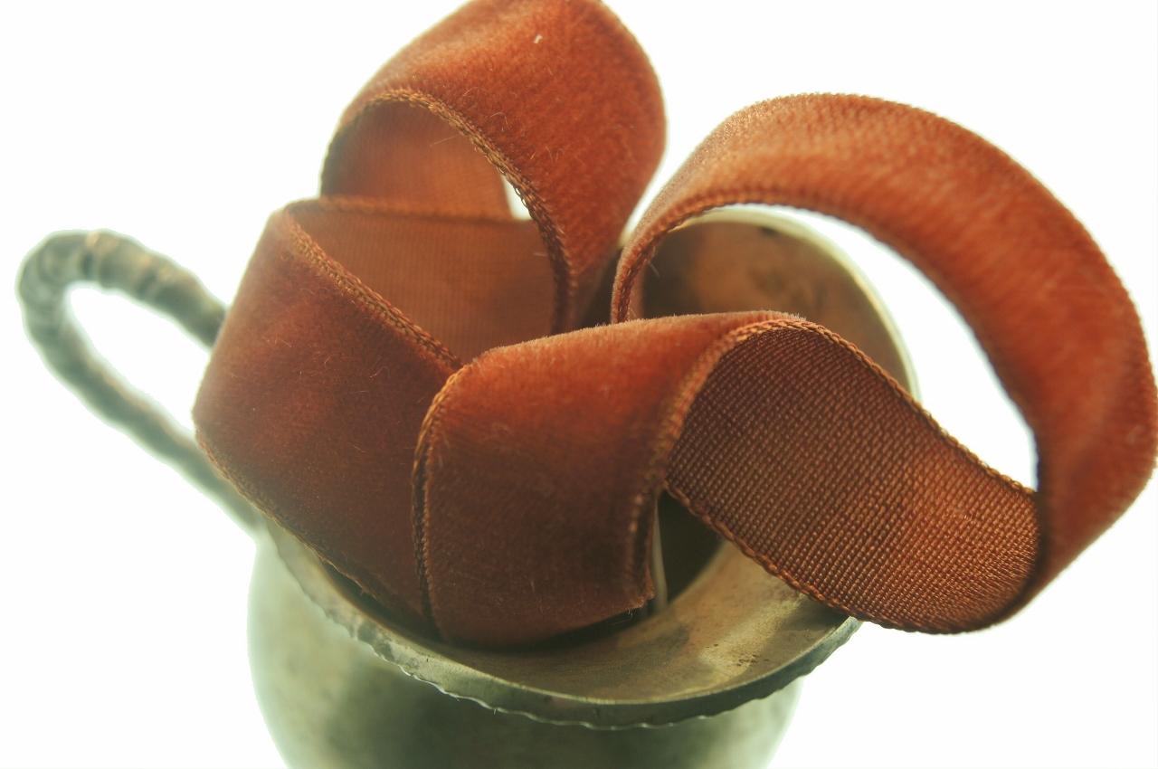 Rust Brown French Velvet Ribbon Trim