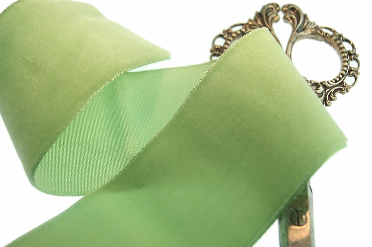 Light Lime French Ribbon Velvet Trim