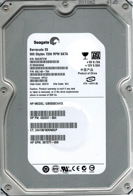 HP/Seagate Es St3500630Ns 500Gb Sata Hard Drive P/N:9Bl146-784 F/W:HPg1