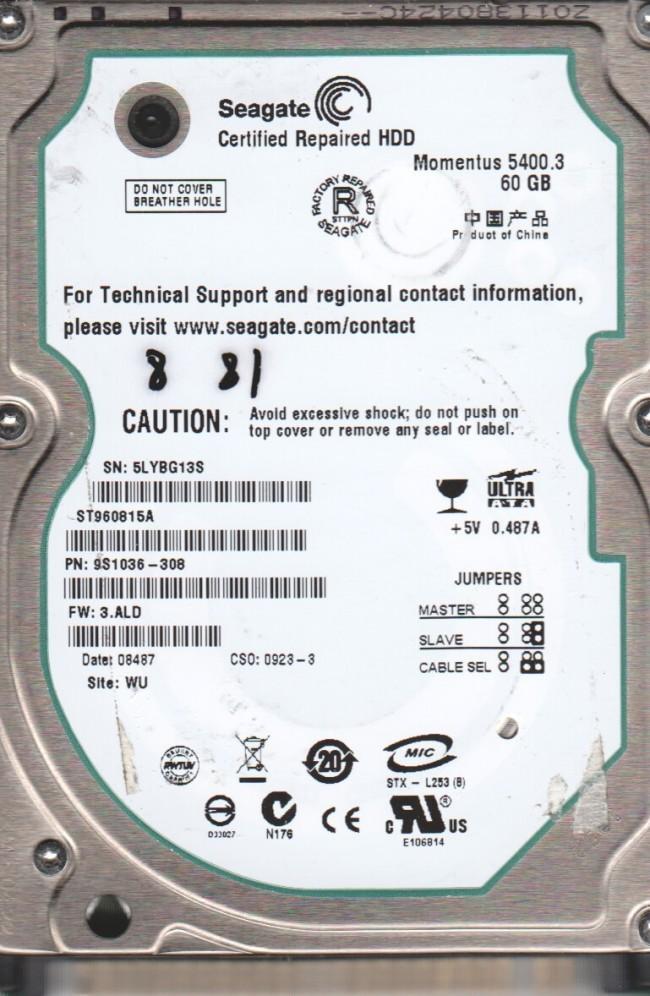 60GB IDE 2.5 5400RPM FW: 3.ALD WU HDD