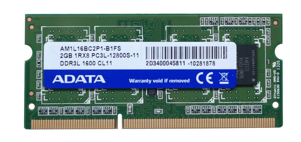 ADATA 2GB DDR3L 1600 (PC3L-12800S-11) SODIMM 204-Pin Memory Ram