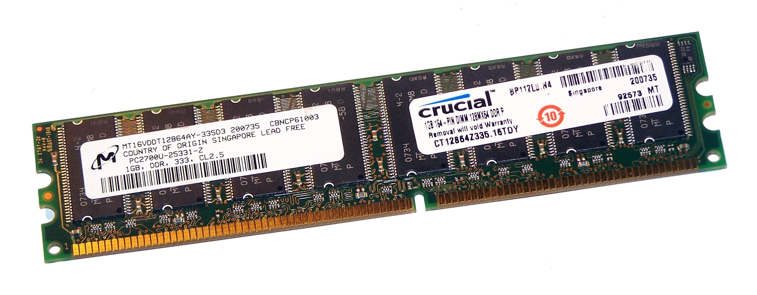 1GB 184 Pin DIMM PC2700U 1GB DDR 333 128Mx64 DDR