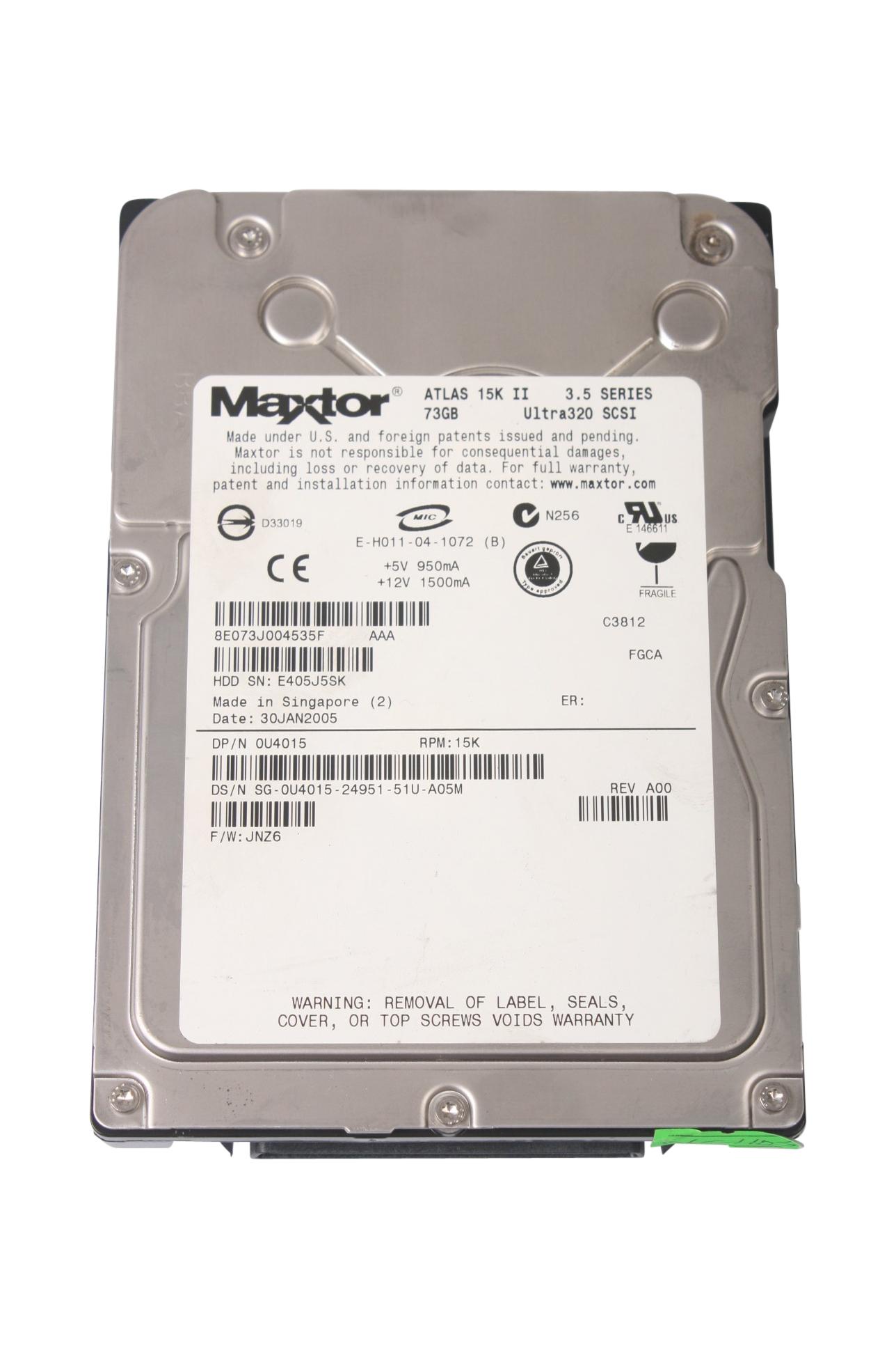 Hard Drive Disk SCSI Maxtor Atlas 15K II 8E036J002C15E 0FC272 E-H011-04-1072 3.5