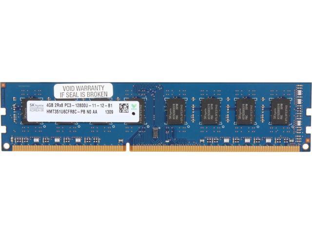 Hynix 4GB PC3-12800 DDR3- 1600MHz non-ECC Unbuffered CL11 240-Pin DIMM HMT351U6CFR8C-PB