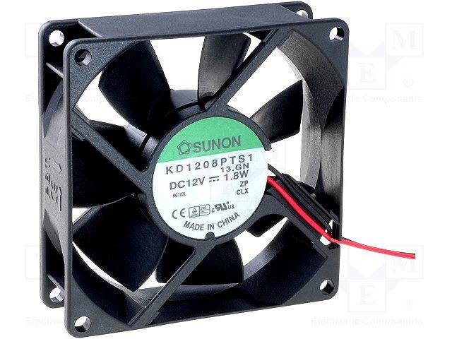 Sunon Kd1208Pts1 Fan Assy 12Vdc 1.9W 2-Wire