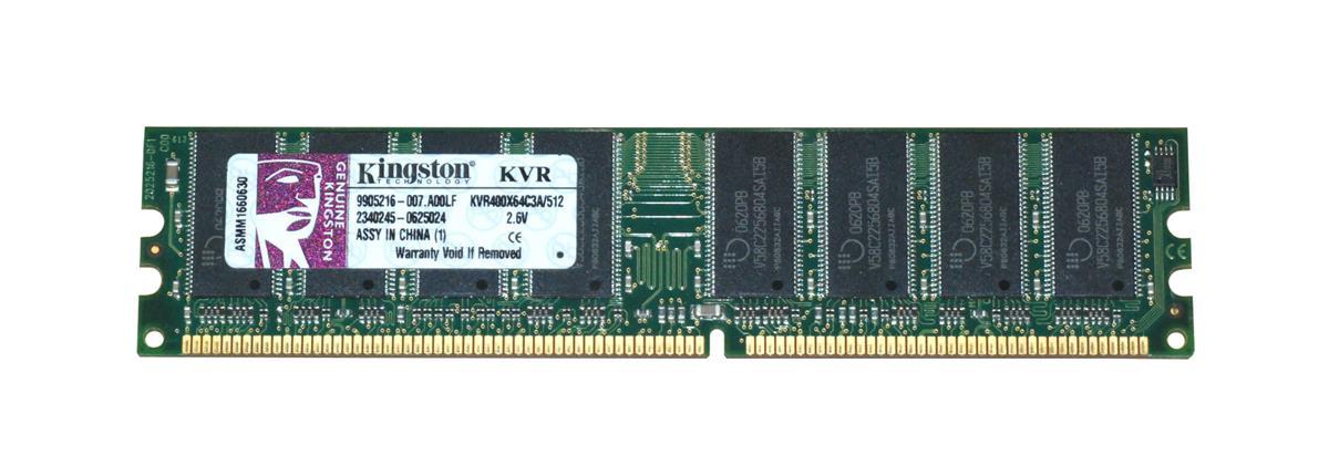 Kingston 512MB PC3200 DDR-400MHz non-ECC Unbuffered CL3 184-Pin