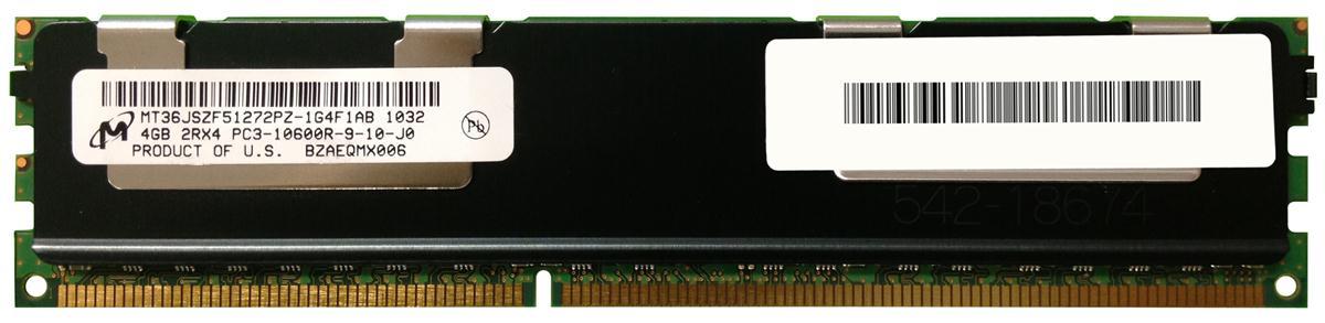 MT36JSZF51272PZ-1G4F1DD, Micron Tech, 4GB PC3-10600 DDR3-1333MHz ECC Registered CL9 240-Pin DIMM Dual Rank Memory Module
