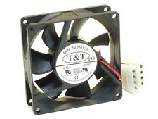 T&T 7blade 80mm X 25mm fan DC12V .10A (# MW-825L12B) 3-wire/3-pin connector