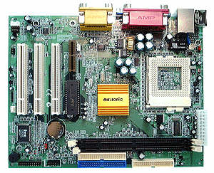 Asus TUSC Socket 370 flex ATX motherboard with 2 PCI and 1 AMR slot. SiS630ET