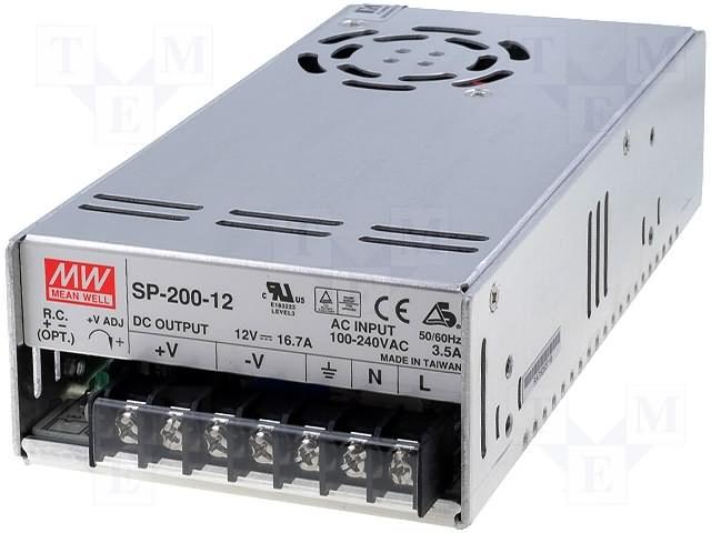 AC/DC 200W 12V Single Output Power Supply - Enclosed w/ Fan