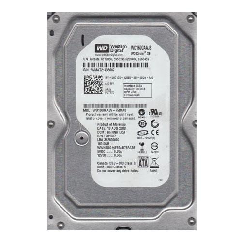 160GB 7.2K SATA 3.5 3G WD HDD