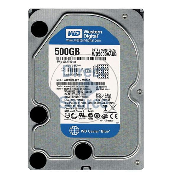 Western Digital wd5000aakb-00h8a0 500GB IDE Hard Drive