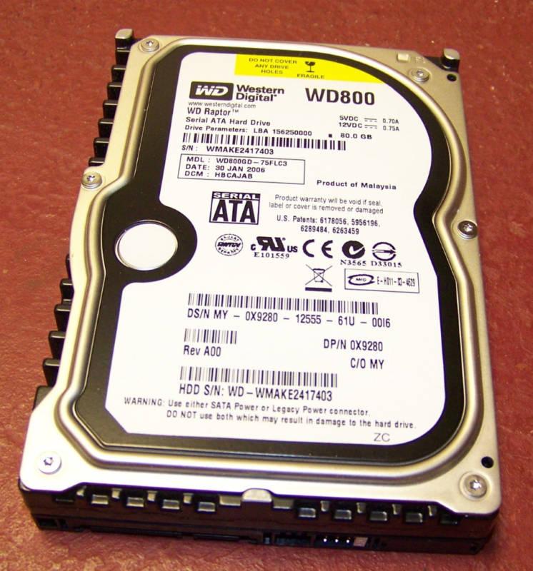 WD WD800GD-75FLC3 Raptor 80GB SATA HD 3.5 inch,10K RPM, 16MB Cach