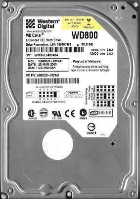 WESTERN DIGITAL WD800JB-00CRA1 80GB IDE HARD DRIVE DCM: DSEHNV2AH
